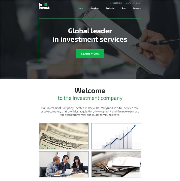 Investment Services Blog WordPress Theme $75