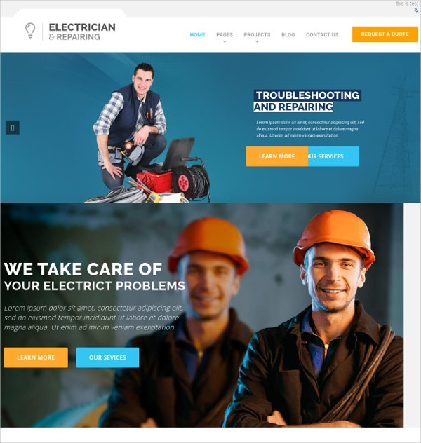 Electrician Repairing & Wiring WordPress Theme $49