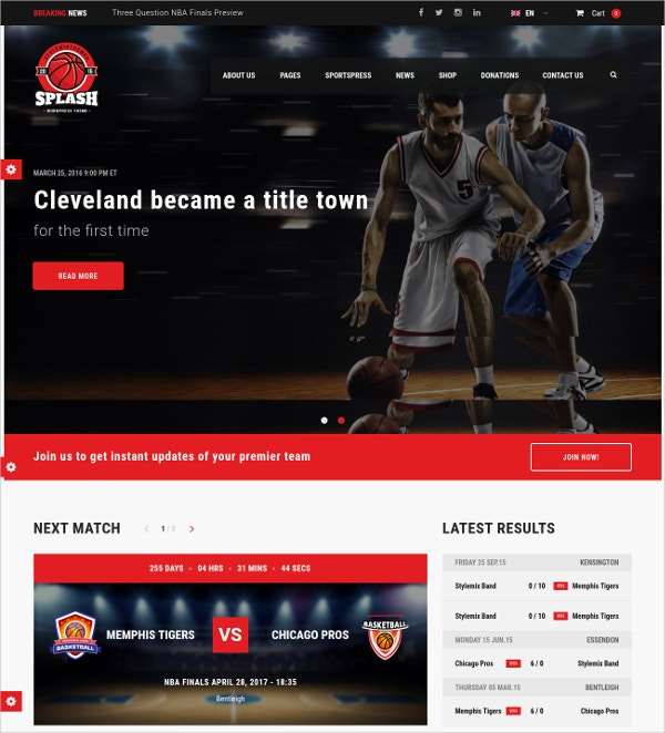 Sports Basketball WordPress Theme $59