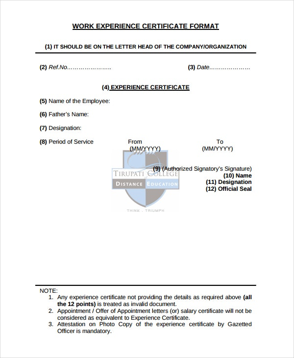 Job experience letter sample doc format spiritdancerdesigns Image collections