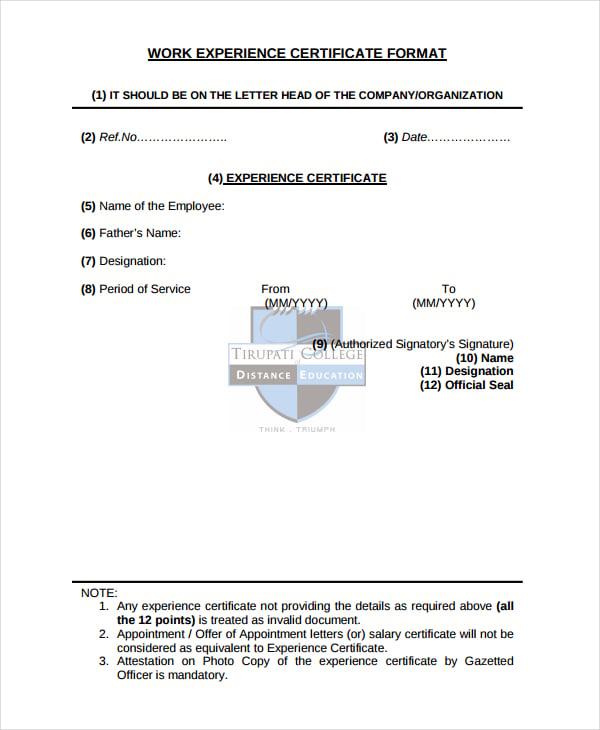 job experience letter sample doc format