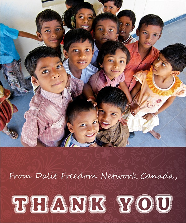 charity thank you card of kids