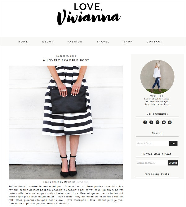 Feminine Blogger WordPress Template $28