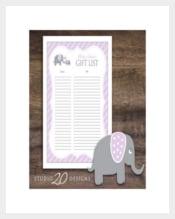 Blank Baby Gift Registry Checklist