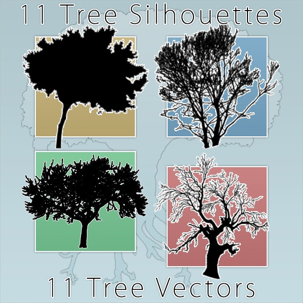 11 Tree Silhouette Vector
