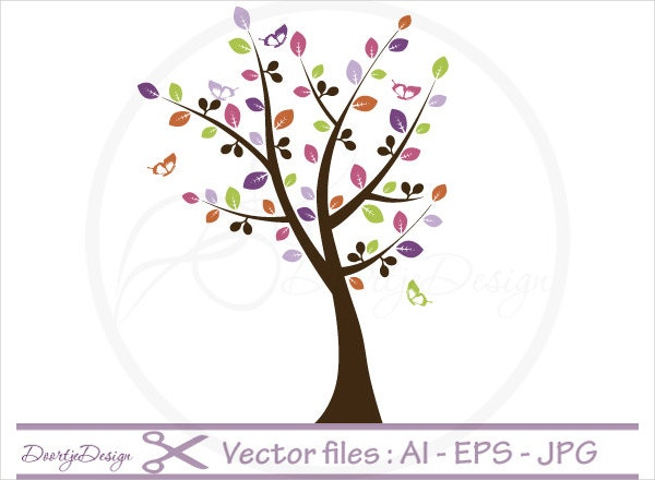 Tree Butterflies Vector
