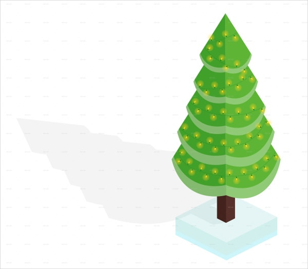 Isometric Christmas Tree Vector