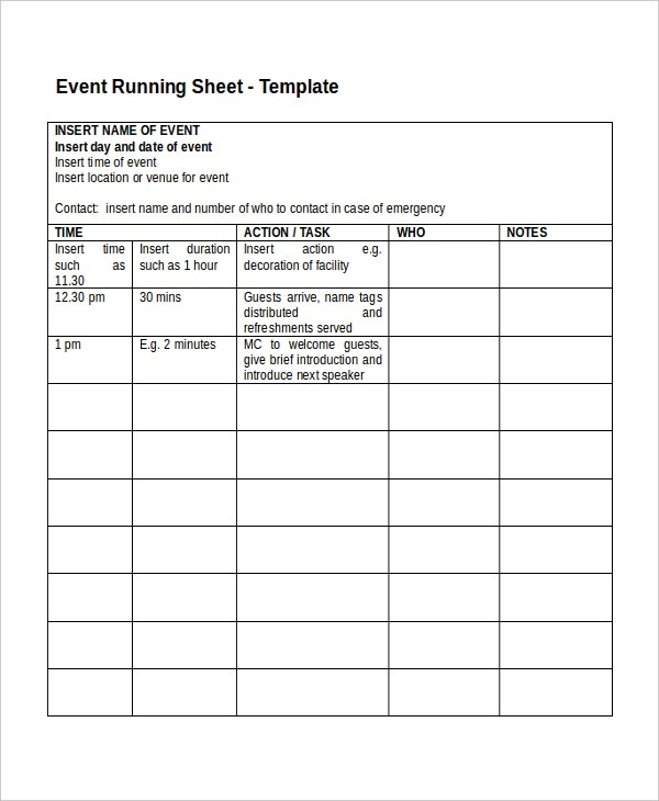 Event Run Sheet Template