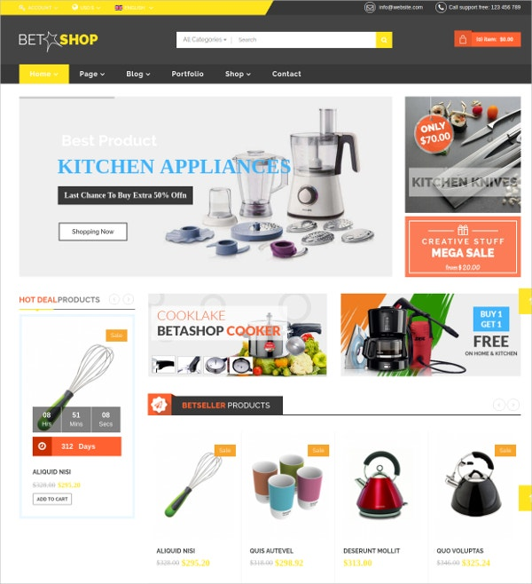 Kitchen Online Store VirtueMart Joomla Template $48
