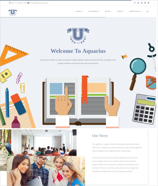 Educational & online Course Drupal Template $48