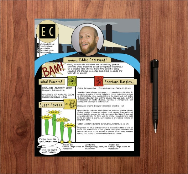 comic book resume template