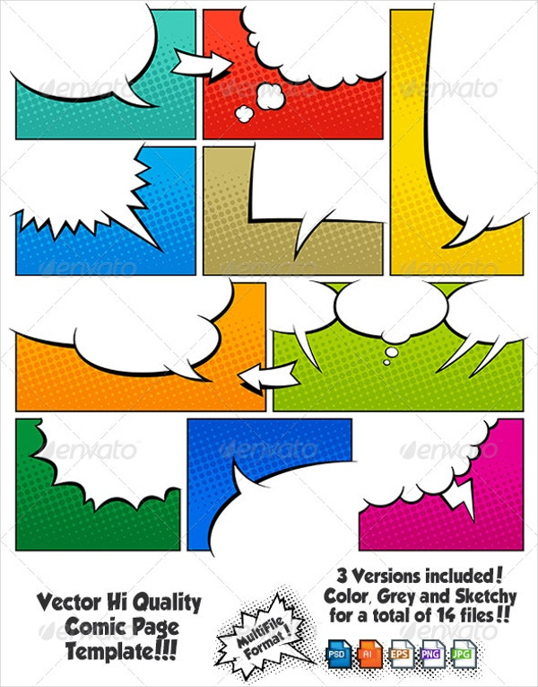 color comic book page template set