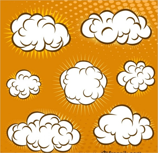 cartoon comic book clouds