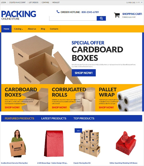 Online Store Packing Blog VirtueMart Template $139