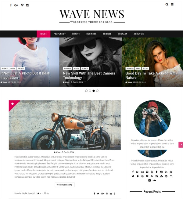 Photography WordPress Responsive Blog Theme $44