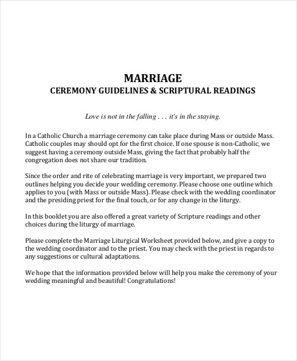 marriage ceremony guideline template