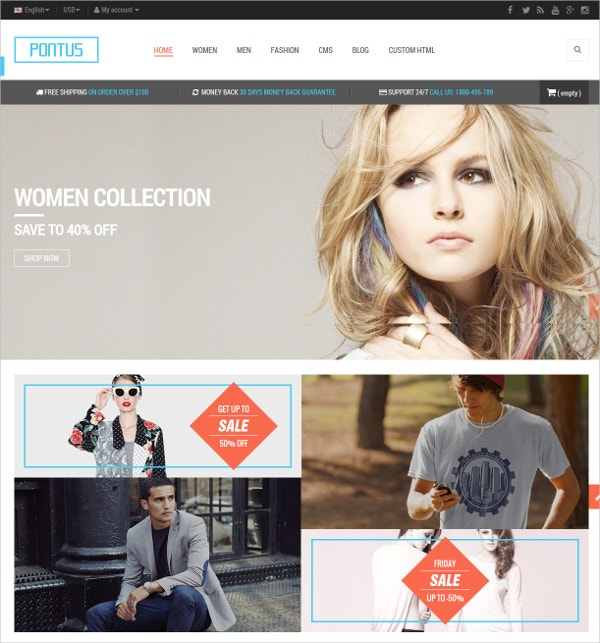 Responsive Fashion Cothes Blog Prestashop Theme $70