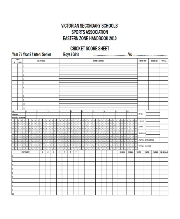 Cricket Score Sheet Template