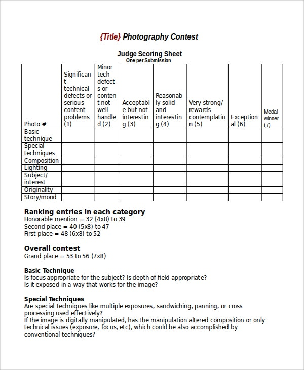 Photo Contest Scoring Sheet Template