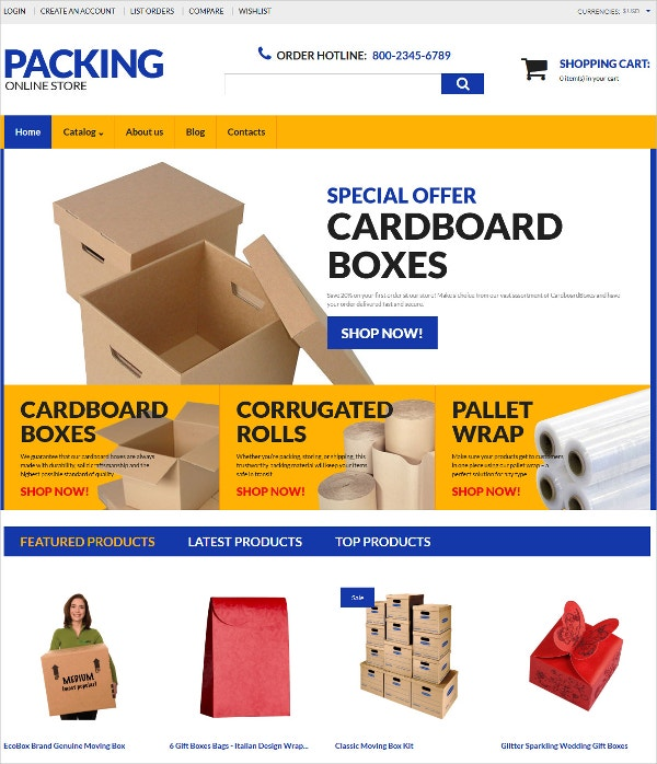 Online Store Packing eCommerce VirtueMart Template $139