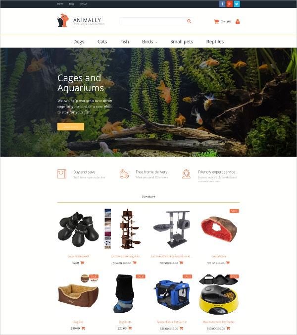 Pet Shop MotoCMS eCommerce Template $119