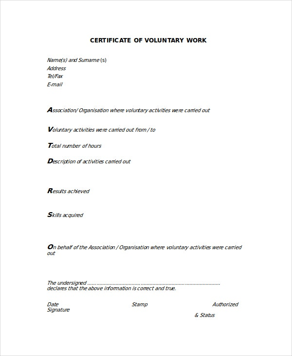 Work Certificate Template -7+ Free Word, Excel, Pdf Documents