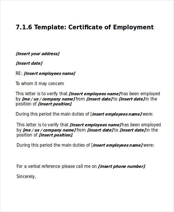 Work Certificate Template  Free Word Excel Pdf Documents