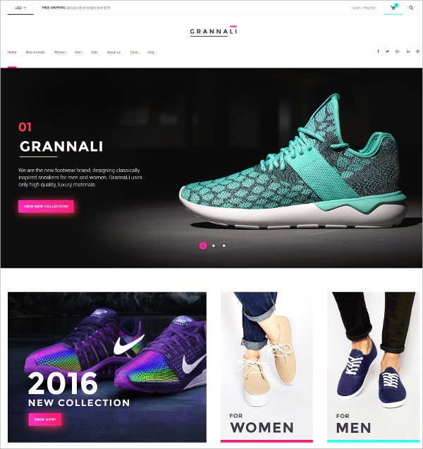 Design Footwear eCommerce Theme $114