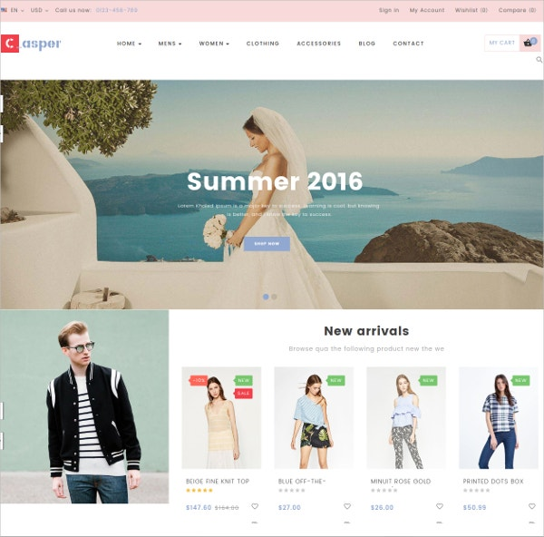 Fashion Clothing eCommerce Prestashop Theme $70