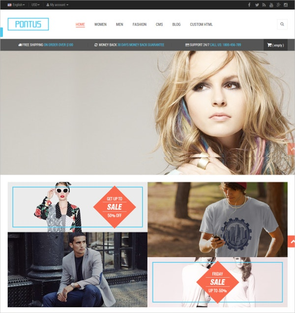 Fashion Clothes Shop eCommerce Prestashop Theme $70