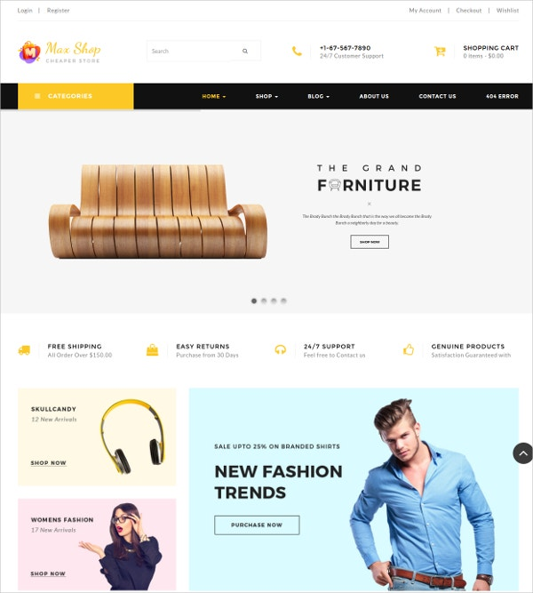 Furniture eCommerce WordPress Theme $59