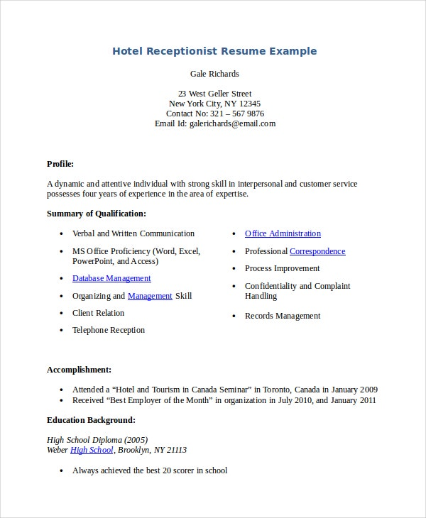 Hotel Receptionist Resume  Medical Receptionist Resume Sample