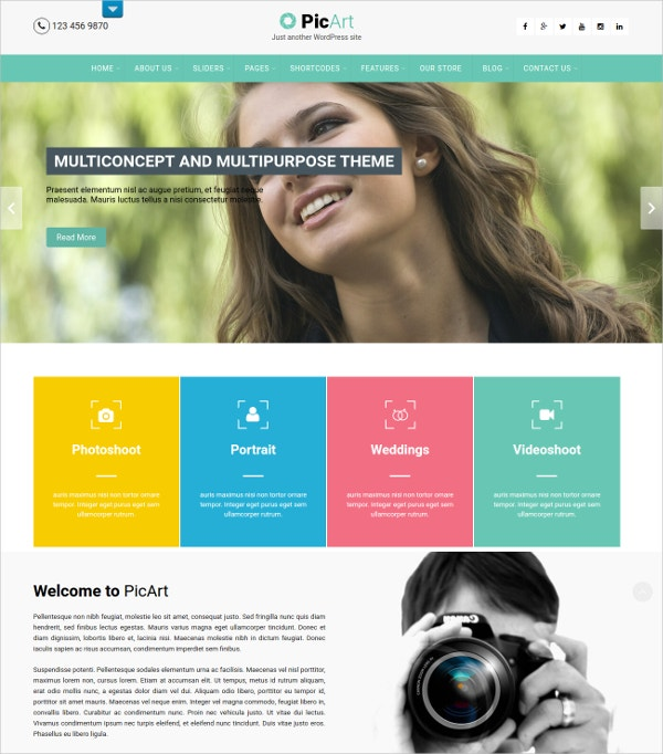 Photography eCommerce Portfolio WP Theme $48