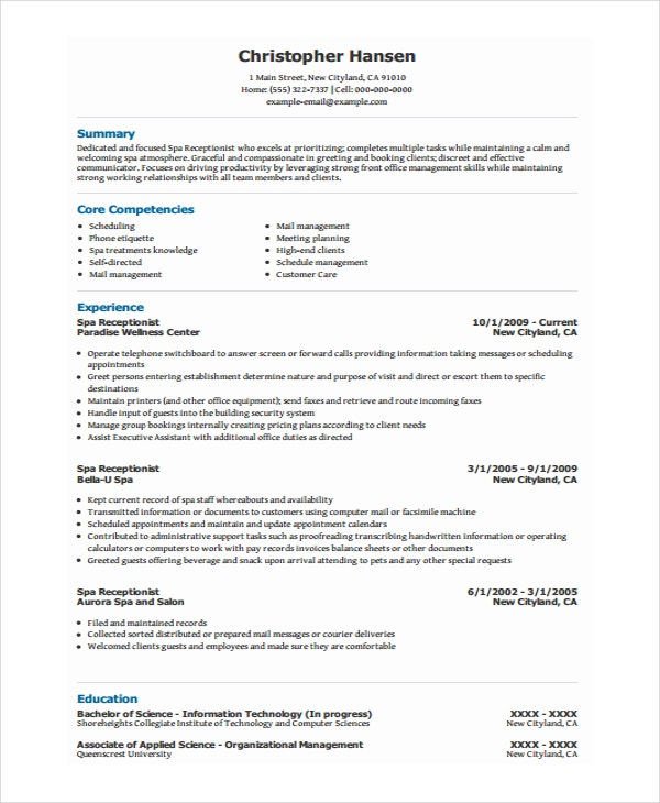Spa Receptionist Resume Intended For Hotel Receptionist Resume