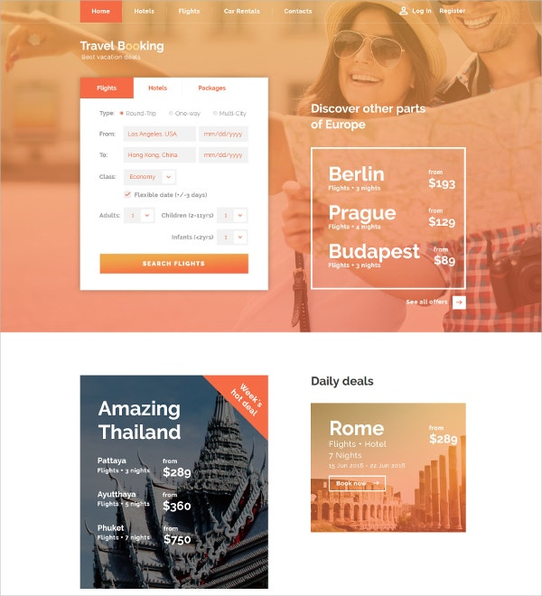 Travel Booking HTML5 Website Template $75