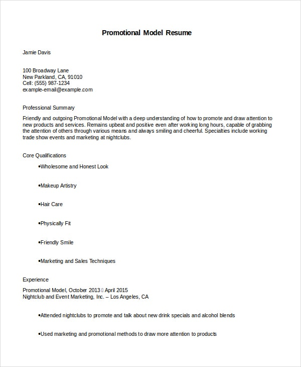 Promotional Model Resumes Resume Template 4 Free Word Document Download