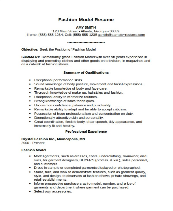 Model Resume Template - 5+ Free Word Document Download | Free
