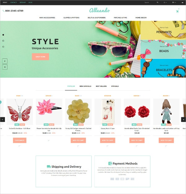 Unique Accessories HTML5 PrestaShop Theme $139