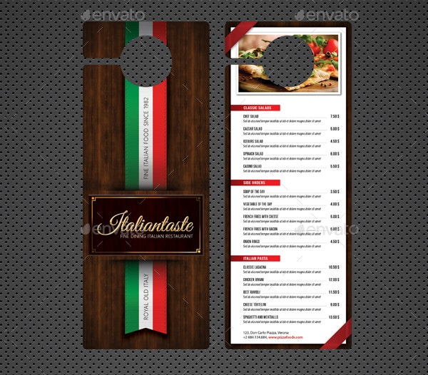 Restaurant Door Hanger Templates Psd In Design Restaurant Door