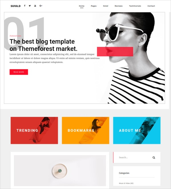 Magazine Personal Blog HTML5 Template $17