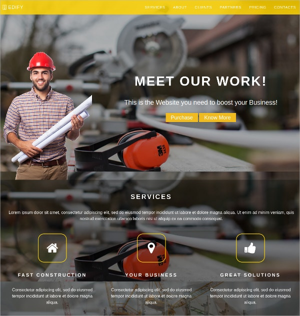 Construction Company HTML5 Template $15