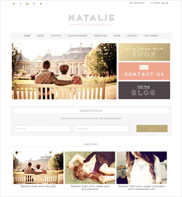Photography eCommerce Feminine WordPress Theme $55