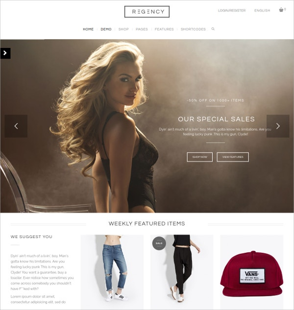 eCommerce Store WordPress Theme $64