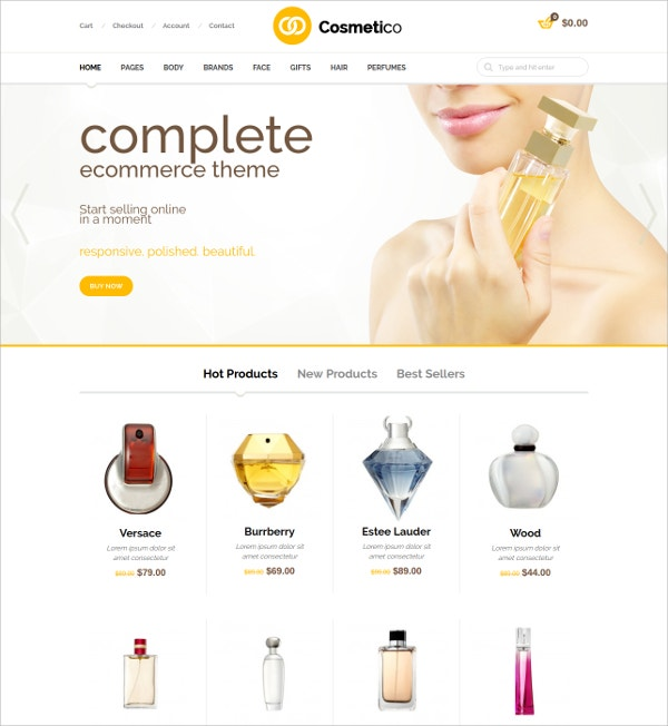 Cosmetico Responsive eCommerce WordPress Theme $59