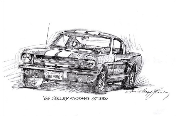 66 Shelby 350 Gt Pencil Drawing