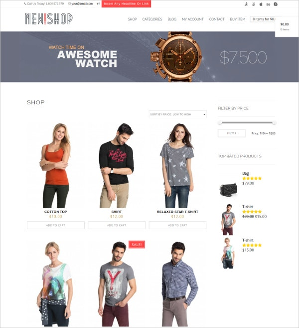Responsive eCommerce Blog WordPress Theme $49