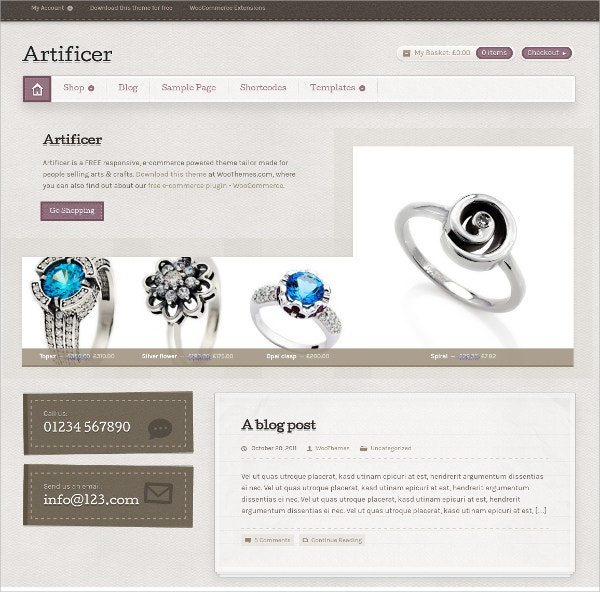 Jewelry eCommerce Free WordPress Theme