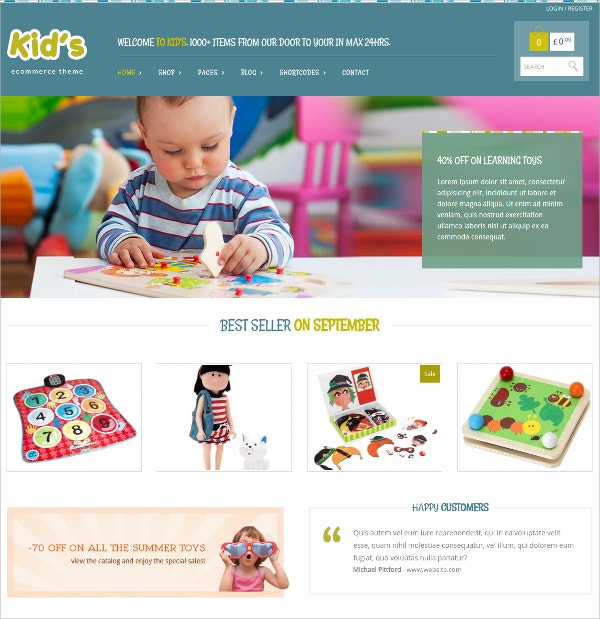 creative kids ecommerce wordpress theme