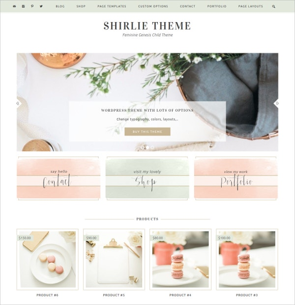 eCommerce Feminine WordPress Theme $65