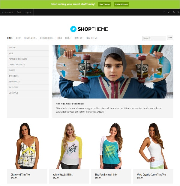 minimal design ecommerce wordpress theme